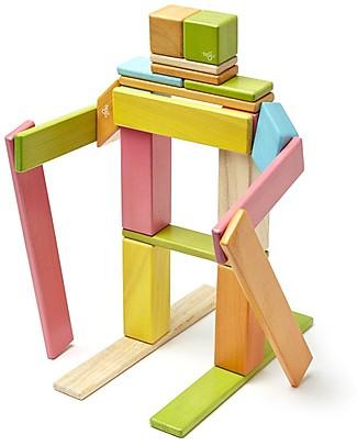 Tegu Set da 24 Pezzi Magnetici in Legno, Tints - Tante Forme e Colori! Construzioni In Legno