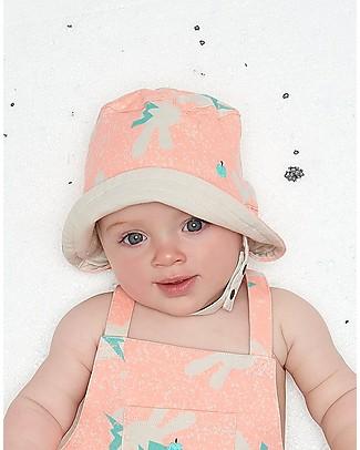 The Bonnie Mob Cappellino Estivo Reversibile Bowen, Coniglietti Neon - Cotone Bio Cappelli Estivi