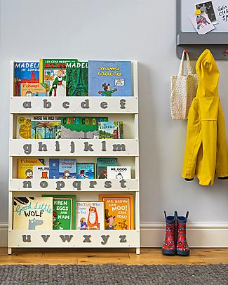 Tidy Books Libreria Frontale per Bambini in Legno - Lettere 3D - Bianco Panna/Lettere Minuscole Librerie