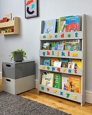 Tidy Books Libreria Frontale per Bambini in Legno - Lettere 3D - Grigio Chiaro Lettere Minuscole Librerie
