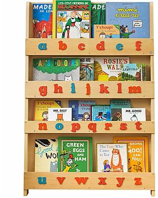Tidy Books Libreria Frontale per Bambini in Legno - Lettere 3D Montessoriane - Naturale/Lettere Minuscole Librerie