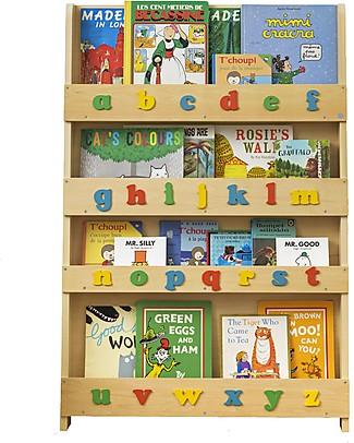 Tidy Books Libreria Frontale per Bambini in Legno - Lettere 3D - Naturale Lettere Minuscole Librerie