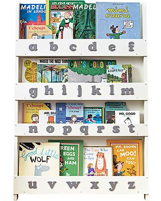 Tidy Books Libreria Frontale per Bambini - Lettere 3D - Bianco Panna/Lettere Minuscole Librerie
