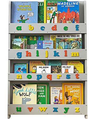Tidy Books Libreria Montessoriana Frontale per Bambini in Legno - Lettere 3D - Grigio Chiaro Lettere Minuscole Librerie