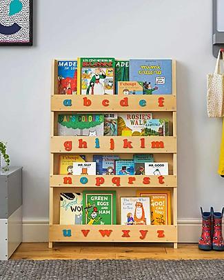 Tidy Books Libreria Montessoriana Frontale per Bambini in Legno - Lettere 3D Montessoriane - Naturale/Lettere Minuscole Librerie