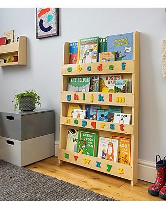 Tidy Books Libreria Montessoriana Frontale per Bambini in Legno - Lettere 3D - Naturale Lettere Minuscole Librerie