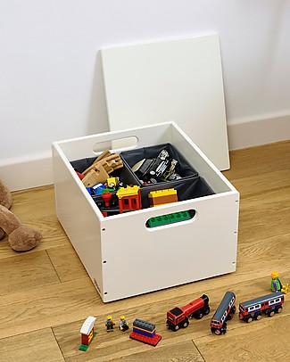 Tidy Books Sorting Box, Contenitore in Legno per Giocattoli, Bianco Panna - 40 x 30 x 24 cm Contenitori Porta Giochi