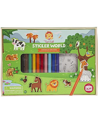 Tiger Tribe Set 200 Adesivi Colorati e da Colorare, Animali - Perfetto da Portare in Vacanza! Adesivi e Timbri