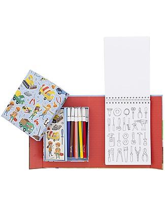 Tiger Tribe Set da Colorare, Costruzioni - Include album, pennarelli e adesivi! Colorare