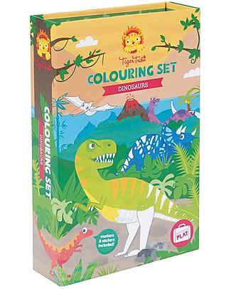 Tiger Tribe Set da Colorare, Dinosauri – Include album, pennarelli e adesivi! Colorare