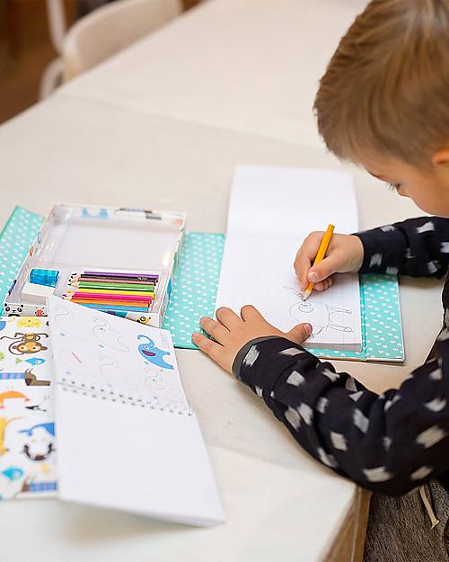 Tiger Tribe Set per Imparare a Disegnare, Animali - Include 2 album, pastelli, gomma e temperino! Colorare