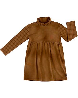 Tiny Cottons Abito Manica Lunga Griglia, Marrone+Nero - Cotone Pima Vestiti