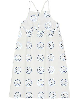 Tiny Cottons Abito Senza Maniche Happy Face, Bianco/Azzurro - 100% Cotone Vestiti