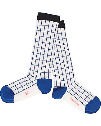 Tiny Cottons Calzini Griglia, Panna/Azzurro - Alti al ginocchio Calzini