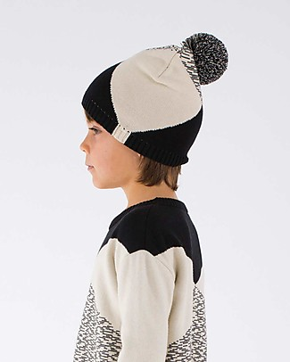 Tiny Cottons Cappellino Geometrico, Beige+Nero - Cotone e Lana Merino Cappelli Invernali