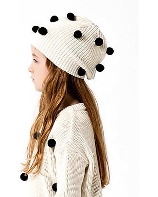 Tiny Cottons Cappellino Pom Pom, Beige+Nero - Cotone e Lana Merino Cappelli Invernali