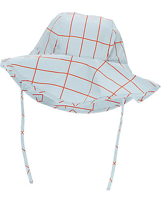 Tiny Cottons Cappello Griglia, Azzurro/Arancio - Cotone Pima Cappelli
