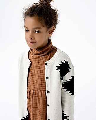 Tiny Cottons Cardigan Unisex Big Folk Elements, Beige+Nero - Cotone e lana Merino Cardigan
