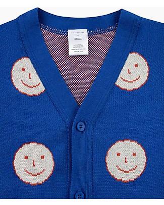 Tiny Cottons Cardigan Unisex, Happy Face, Azzurro/Rosso - Cotone Pima Cardigan