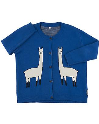 Tiny Cottons Cardigan Unisex Lama, Blu - Cotone e lana Merino Cardigan