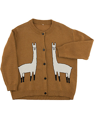 Tiny Cottons Cardigan Unisex Lama, Marrone - Cotone e lana Merino Cardigan