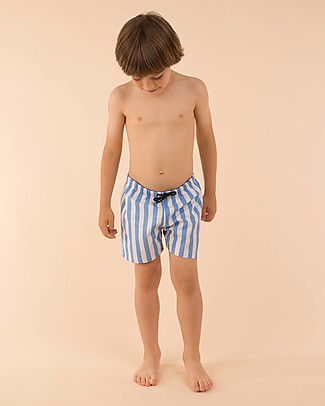 Tiny Cottons Costume Bimbo a Pantaloncino a Righe, Ceruleo Costumi a Pantaloncino