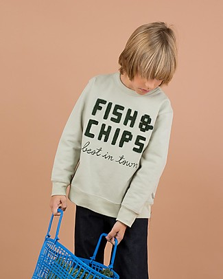 "Tiny Cottons Felpa Maniche Lunghe ""Fish and Chips"" - 100% cotone PIMA Felpe"