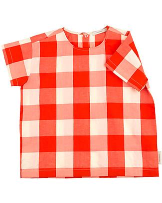 Tiny Cottons Hotel Bonheur, a Quadri T-Shirt, Carminio e Mattone – Cotone e Lino T-Shirt e Canotte