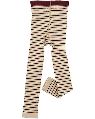 Tiny Cottons Leggings a Righe, Beige+Bordeaux Leggings