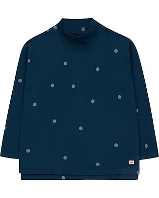 Tiny Cottons Maglia Collo Alto a Pois, Blu Navy/Lilla scuro - Cotone Pima Maglie Manica Lunga