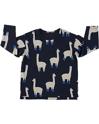 Tiny Cottons Maglia Maniche Lunghe Lama, Blu Scuro+Beige - Cotone Pima T-Shirt e Canotte