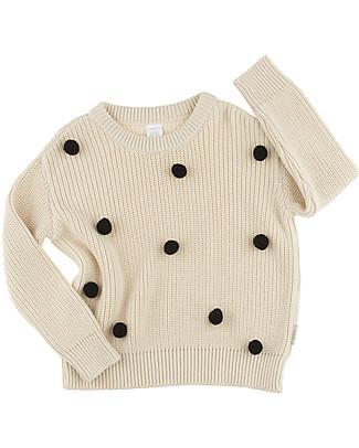 Tiny Cottons Maglione Oversize Pom Pom, Beige+Nero - Cotone e lana Merino Maglioni