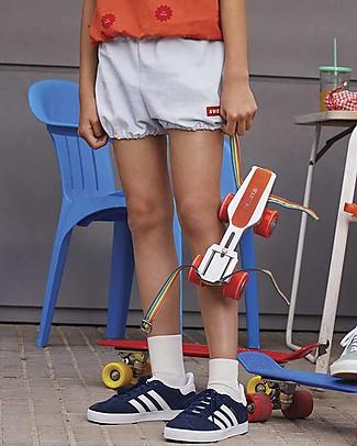 Tiny Cottons Pantalone Corto a Palloncino, Celeste/Rosso - 100% Cotone Pantaloni Corti