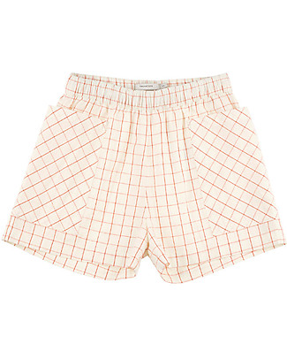 Tiny Cottons Pantalone Corto Griglia – 100% Cotone - Tasche Frontali Pantaloni Corti