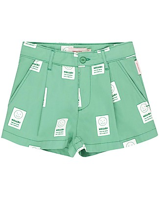 Tiny Cottons Pantalone Corto Pleated, Hello - 100% Cotone Pantaloni Corti