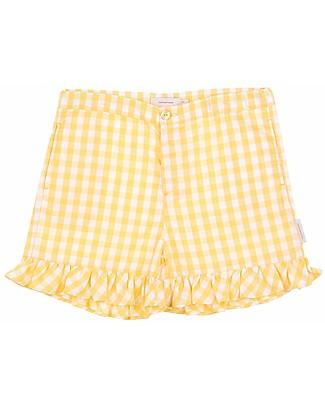 Tiny Cottons Pantalone Corto Scacchi, Giallo - Cotone e Lino Pantaloni Corti