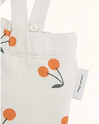 """Tiny Cottons Pantaloni in Felpa con Bretelle """"Ciliegie""""- Cotone PIMA Salopette"""