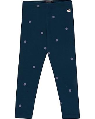 Tiny Cottons Pantaloni Leggings a Pois, Blu Navy/ Lilla Scuro - Cotone Pima Leggings