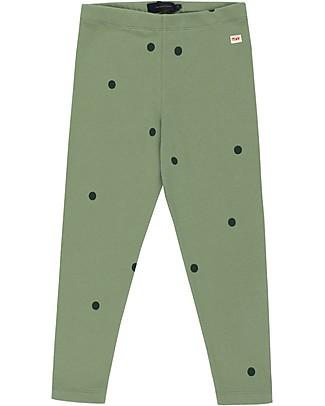 Tiny Cottons Pantaloni Leggings a Pois, Verde/Verde Bottiglia - Cotone Pima Leggings