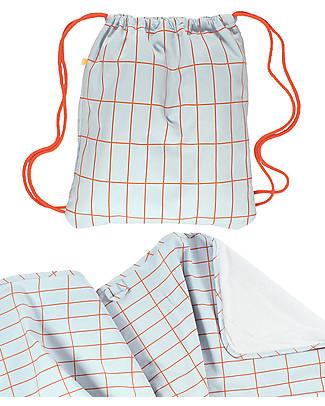 Tiny Cottons Set Asciugamano + Zainetto Griglia, Rosso/Azzurro - Cotone Pima Zaini