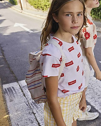 Tiny Cottons T-Shirt Sweet, Perla/Rosso - Cotone Pima Elasticizzato T-Shirt e Canotte