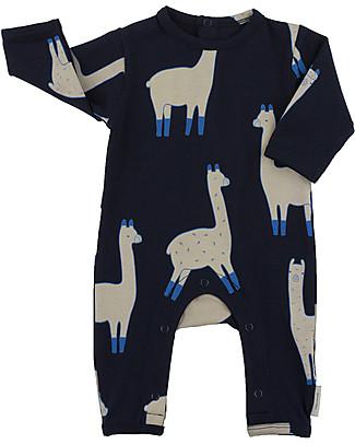 Tiny Cottons Tutina Lama, Blu Scuro+Beige - Cotone Pima Tutine Lunghe Senza Piedi