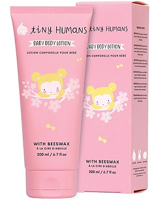 Tiny Humans Baby Lozione Corpo Massaggio , Cera d'Api - 200 ml Creme ed Olii Baby