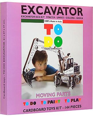 ToDo Gioco da Costruire in Cartone Livello Teacher, Escavatore 144 pezzi - Ecologia e divertimento! Giochi Creativi