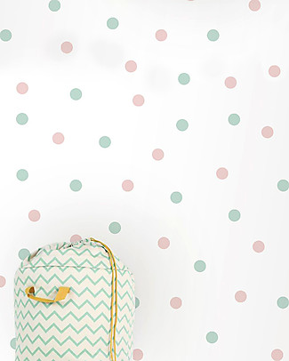Tresxics 100 Fabric Wall Stickers, Dots - Mint and Pink - Removable and reusable! Wall Stickers