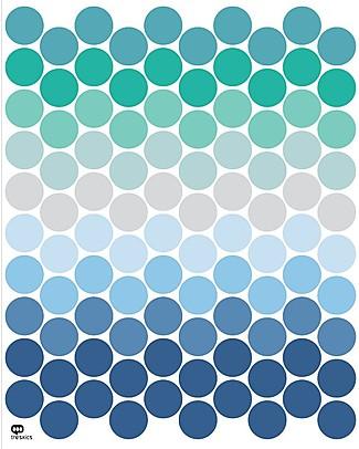 Tresxics Adesivi da Parete Amovibili Pois, Toni del Blu - Confezione da 100 adesivi! Adesivi Da Parete