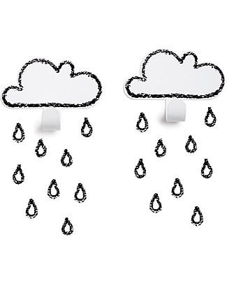 Tresxics Clouds Wall Hooks & Rain Drops Stickers - White Hangers & Hooks
