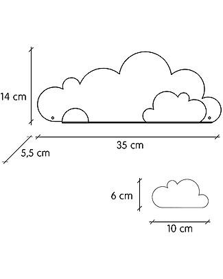 Tresxics Mensola a Forma di Nuvoletta con Adesivi - Grigio Adesivi Da Parete