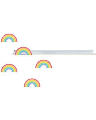 Tresxics Mensola con Adesivi Arcobaleno - Amovibili e riposizionabili - 50 x 5 cm Adesivi Da Parete