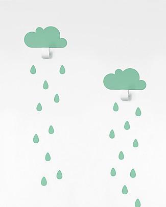 Tresxics Nuvolette Appendiabiti con Adesivi Gocce d'Acqua - Verde Mente Appendiabiti e Grucce